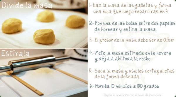 Divide la masa de tus galletas en 4 partes y estira