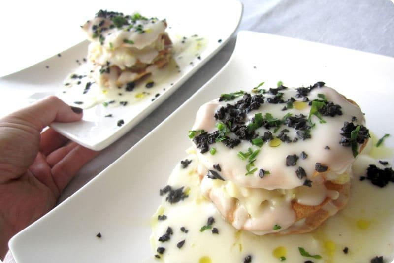 Milhojas de bacalao con crema de coliflor con Thermomix