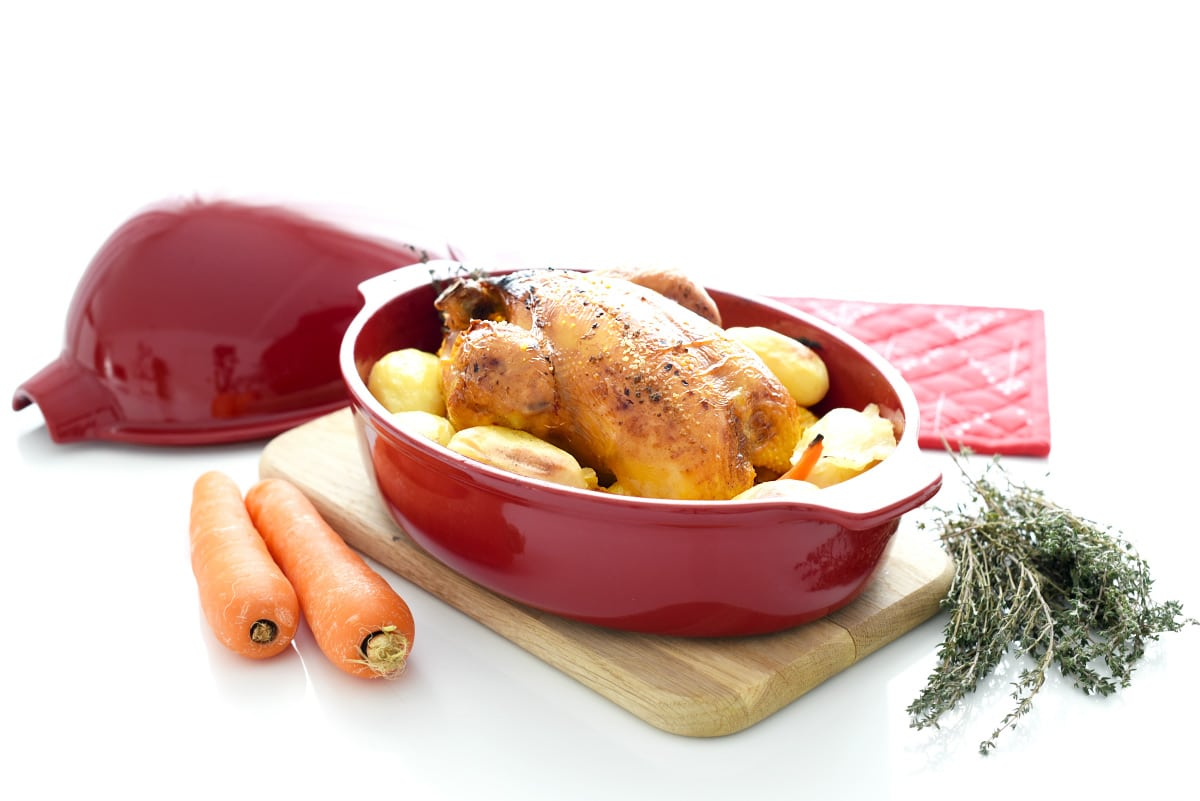 Pollo de corral aromatizado y al horno