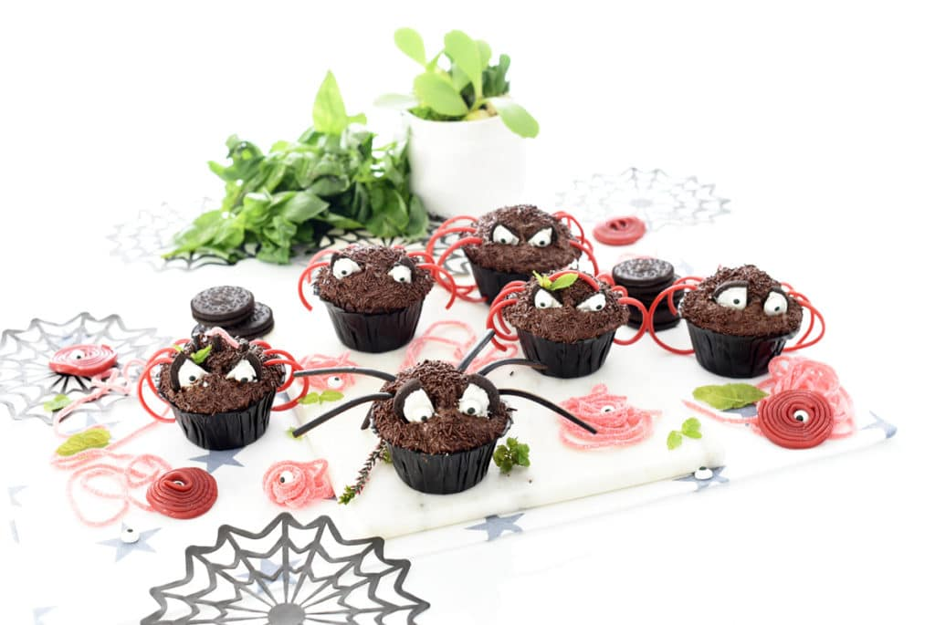 Magdalenas de arañas para Halloween